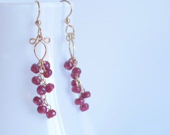 Ruby and Gold Earrings, Ruby Dangles, Ruby Earrings, July Birthday, July Birthstone, Mother's Day gift for her