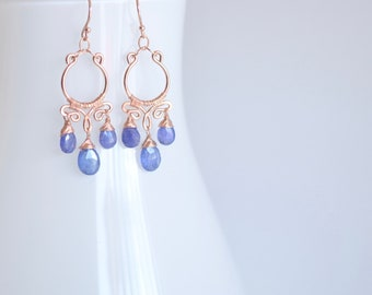 Petite Tanzanite and Rose Gold Filled Chandelier Earrings, Delicate Rose Gold Dangles, Delicate Tanzanite Earrings, December birthstone