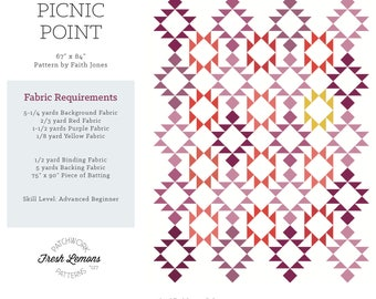 Modern Quilt Pattern - Picnic Point - PDF
