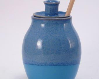 Blue and Aqua Handmade Stoneware Honey Pot