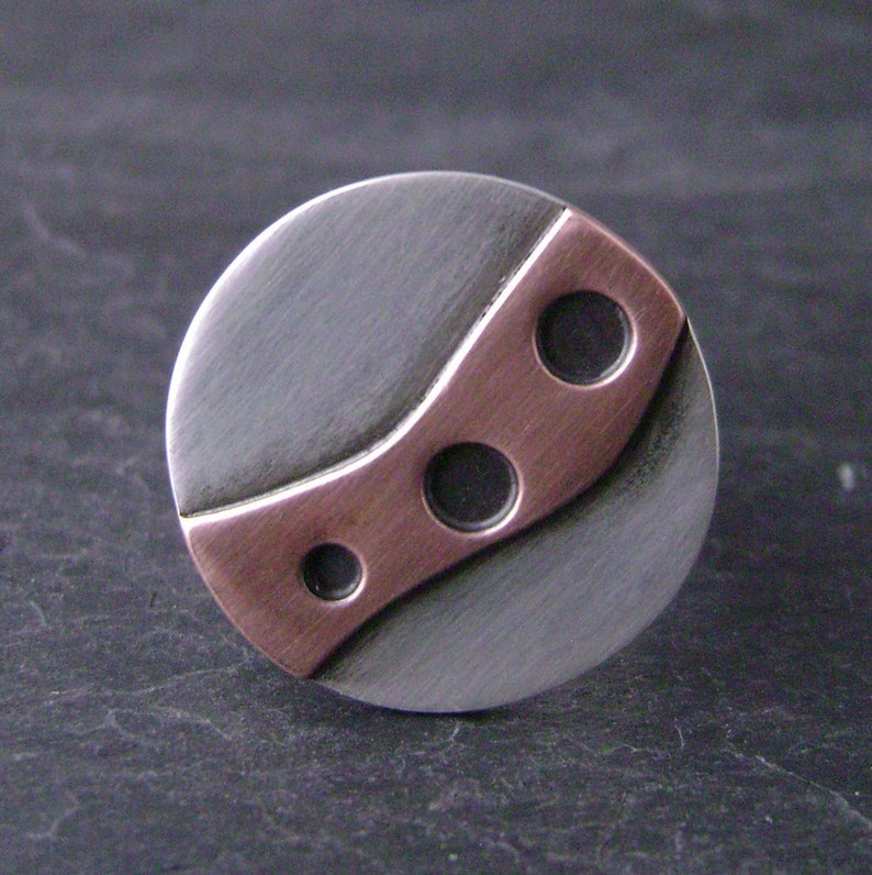 copper Path on silver ring r111 image 0