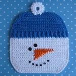 Snowman Potholder Crochet PATTERN - INSTANT DOWNLOAD