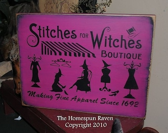 Stitches for Witches Primitive Handpainted wood sign WICCAN NEW RELEASE 2010 plaque