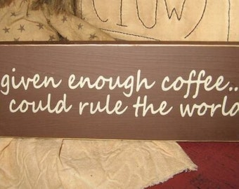 Given Enough Coffee I Could Rule The World Handpainted Mini Wood Sign Shelf Sitter Primitive Home Wall Hanging Plaque