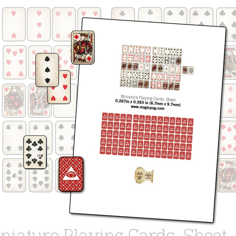 photo relating to Printable Playing Card known as Printable Miniature Dollhouse Actively playing Playing cards with box electronic collage sheet 1/12 scale props poker for your dolls 1:12 scale