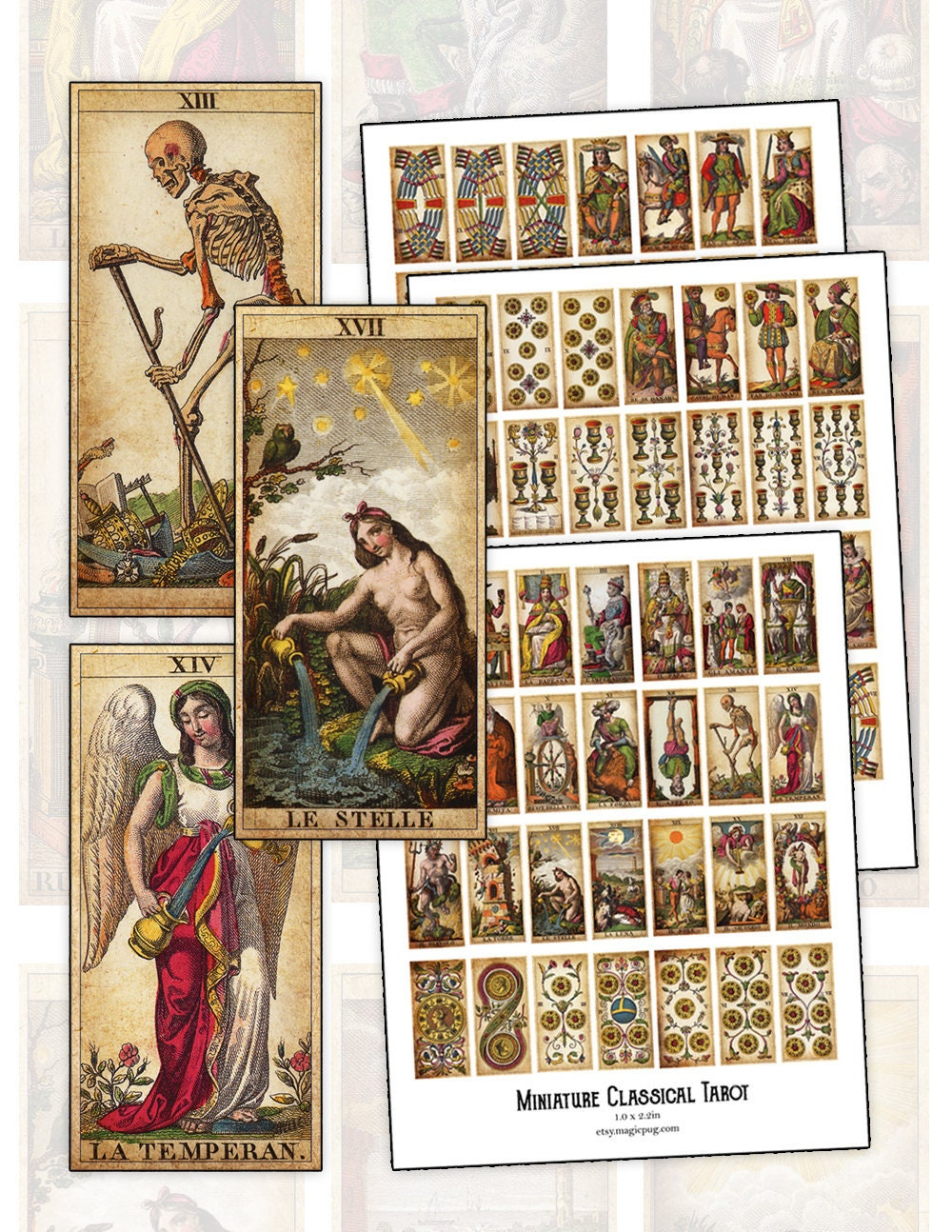 The Classical Tarot Card Digital Collage Sheet Set For BJD
