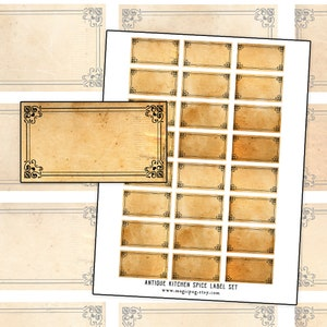 Antique Curlicue Spice Label blank label digital collage sheet 300dpi 2.5 x 1 Editable PDF included