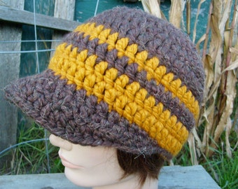 Crochet Hat in Brown with Bill