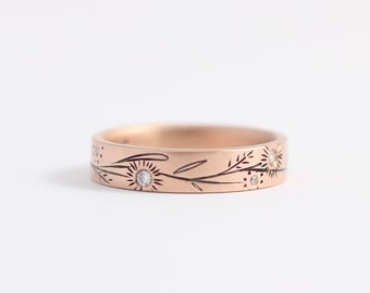 Botanical Rose Gold Wedding Ring made with Ethical Gold and Recycled Heirloom Diamonds