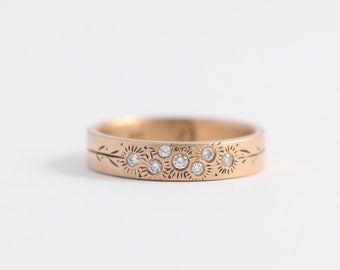Botanical Yellow Gold Wedding Ring made with Ethical Gold and Recycled Heirloom Diamonds