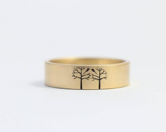 Unique Wedding Band, Unique Engagement Ring, Love Birds Ring, Birds in Trees Ring, Mens or Womens Wedding Ring, Size 6 Ring, Yellow Gold