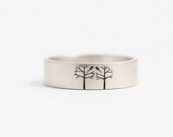 Unique Wedding Band//Unique Engagement Ring//Love Birds Ring//Birds in Trees Ring//Mens or Womens Wedding Ring//Size 6 Ring//W