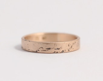 Wedding Band or Engagement Ring narrow distressed 9ct rose gold 3mm wide band
