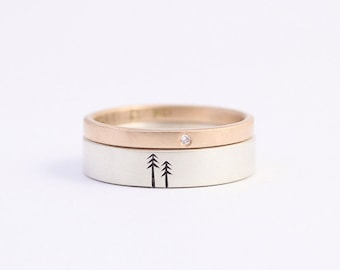 Diamond Engagement Ring and Wedding Band Set in 9ct rose gold 2mm with a conflict free diamond and sterling silver 5mm
