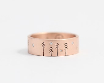 Rose gold engagement ring, diamond ring, wedding ring, wedding band, diamond engagement ring, tree ring, woodland ring, conflict free ring