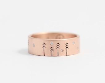 Rose Gold Engagement Ring Diamond Engagement Ring Unique Wedding Band Size 6 Ring