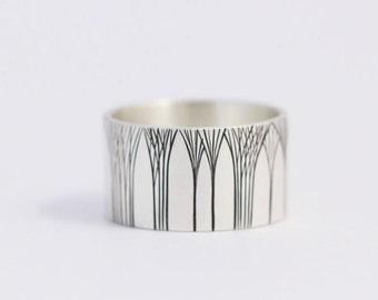 Men's Wedding Ring Art Deco Ring Tree Wedding Ring Wedding Band 12mm Sterling Silver