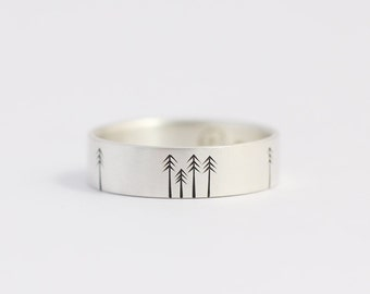 Unique Wedding Band Wedding Ring Engagement Ring with Pine Trees Recycled Silver Woodland Wedding 6mm Wide