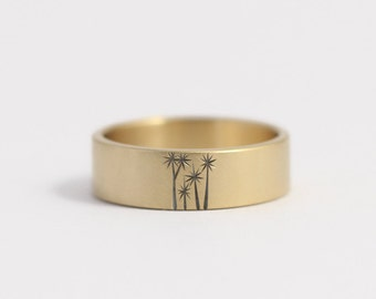 Wedding Band or Engagement Ring in 14k yellow gold with cabbage trees 7mm 14kt yellow