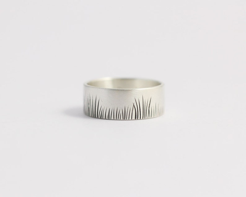 Silver Wedding Band Native Grasses Ring in Matte White Gold image 0
