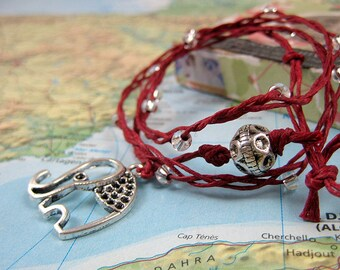 Santosha Collection Yoga Wrap Bracelet with Silver Elephant Charm on Red Waxed Linen