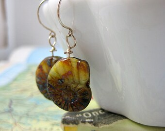 Aditi Wire-Wrapped Jasper Earrings with Shell Imprint on Sterling Wire