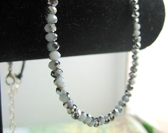 Beaded and Linen Necklace with Picasso Czech Beads from Vayu Collection