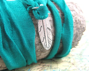 Yoga Wrap Bracelet with Silver Feather Charm on Recycled Sari Ribbon