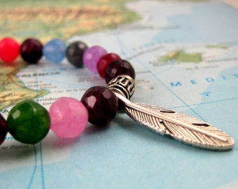Mala Bracelet in Multi-Colored Jade Mix with Silver Feather Charm from Pradeepta Collection