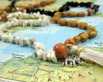 Long Beaded Gemstone Wrap Bracelet/Necklace with Tassel and Elephant from the Sangha Collection