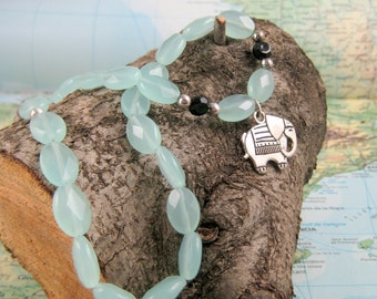 Silver Elephant Pendant on Cool Dyed Jade Beaded Strand Necklace
