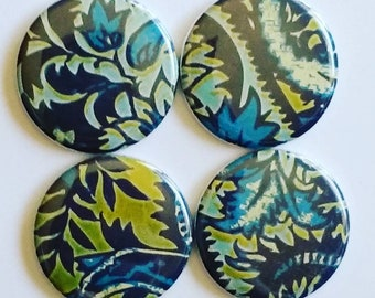 Ocean forest magnets, Paisley leaves, magnets set of four