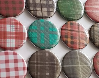 Flannel magnets, flannel decor, fall decor, autumn decor, harvest decor, refrigerator magnets, set of six magnets, cute fall home decor