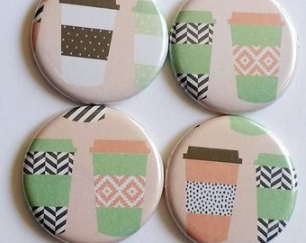 Coffee magnets, caffeine addict, to go cup, magnets set of four