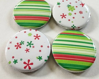 Hippy trippy holiday magnets, neon colored magnets, holiday home decor, seasonal kitchen decor, set of four 1.25 inch magnets