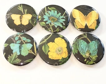 Butterfly magnets, yellow and teal flower magnets, butterfly and flower magnets, nature mangets, set of six magnets 1.25 inch