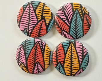 Leaf magnets, plant lover, plant mom, plant dad, bright colored home decor, set of four 1.25 inch refrigerator magnets