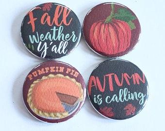 Fall magents, pumpkin pie magnets, pumpkin magnets, refrigerator magnets, set of four magnets, kitchen decor, home decor, autumn decor