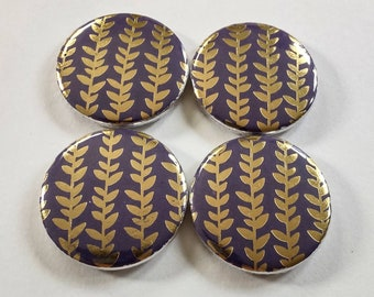 Purple magnets, royal purple and gold leaf magnets, set of four 1.25 inch refrigerator magnets, plant lover home decor, plant accessories