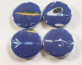 fishing magnets, gift for dad, gift for husband, fishing decor, set of four 1.25 inch refrigerator magnets