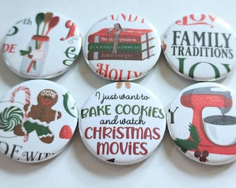 Holiday magnets, baking magnets, family traditions, gingerbread, bake cookies and Christmas magnets, set of six 1.25 in refrigerator magnets