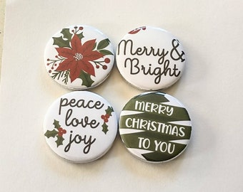 Christmas magnets, peace love joy, merry and bright, poinsettia flower, merry christmas, set of four 1.25 inch magnets
