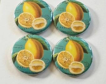 teal lemon magnets, lemon home decor, fruit inspired decor, set of four fridge magnets, 1.25 inch