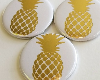 pineapple magnets, white and gold foil, magnets set of three