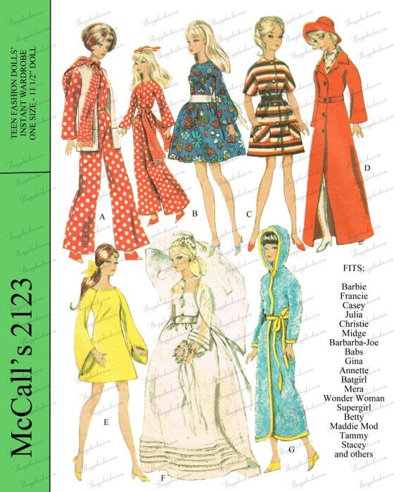 Vintage 60s Doll Clothes Dress Skating Pattern ~ Barbie Midge Annette Stacy