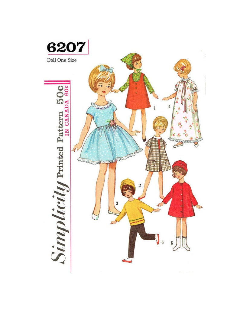 Vintage Simplicity 6207 - 8 inch Penny Brite and others doll sewing pattern  - PDF