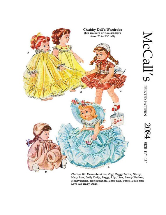 Mccalls 2084 Doll Clothes Sewing Pattern For 11 To 13 Inch Etsy