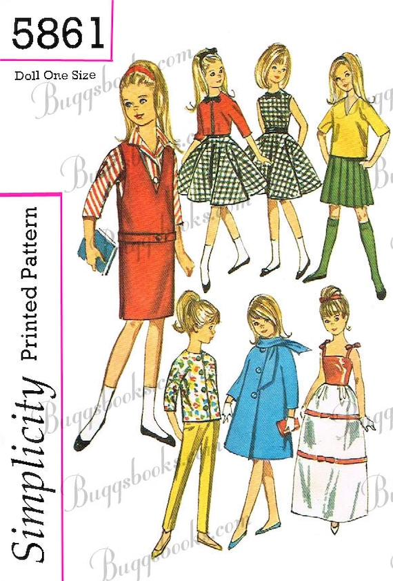 "Fits Skipper Doll Wardrobe Pattern 9-1//2/"" vintage 1960/'s 7716"
