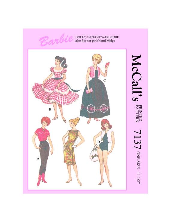 McCalls 7137- 11 1/2 inch doll clothes sewing pattern - for barbie ...