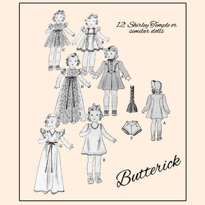 Simplicity 2717 for 12 inch dolls such as shirley temple